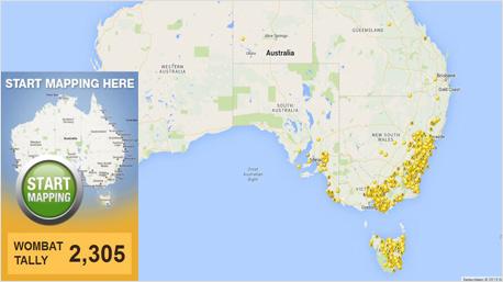 Auf einer Karte können Australier ihre Wombat-Sichtungen eintragen.