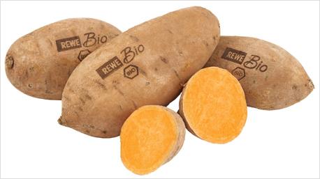 Laser-Label auf Süßkartoffeln von REWE.