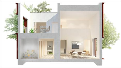 ... mit vier Zimmern und Terrasse auf 1,5 Etagen, ...