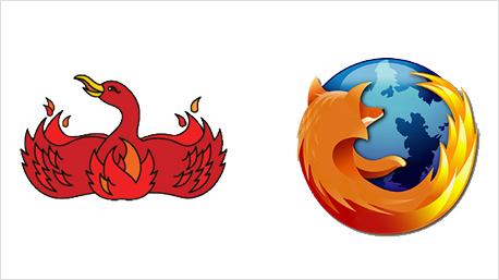 Der Webbrowser Firefox startete unter dem Namen Phönix - der Vogel zierte auch sein erstes Logo. (alle Bilder: www.boredpanda.com)
