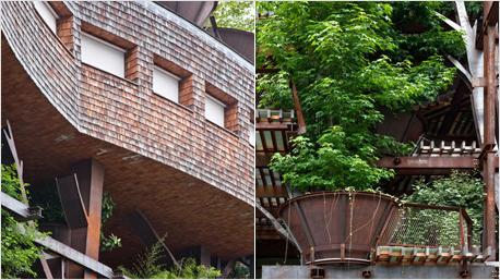 Fassade aus Lärchenschindeln und Aufhängung für Bäume