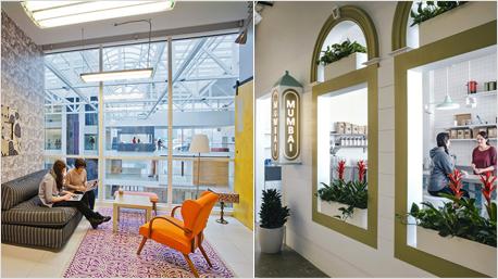 Das Online-Portal Airbnb - bekannt für private Unterkünfte, die man mieten kann - beschert auch seinen Mitarbeitern gemütliche vier Wände zum Arbeiten. Bilder: inc.com