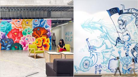 So bunt wie die ein oder andere Facebook-Pinnwand sind auch die echten Bürowände des Sozialen Netzwerkes. An einige können Mitarbeiter sogar malen und Ideen schreiben. Bilder: officesnapshots.com