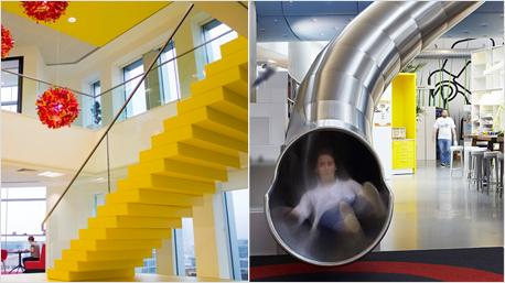 Beim Spielzeughersteller LEGO geht's die echte LEGO Treppe hoch oder die flotte Rutsche runter. Bilder: lego.com