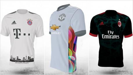 Eingereichte Vorschläge: FC Bayern mit Skyline, Manchester United mit bunten Farben und der AC Mailand mit grünem Muster. (Bilder: www.adidas.de)