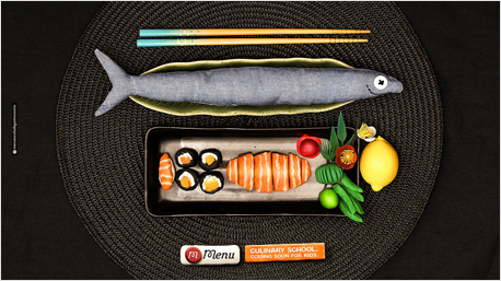 Frischer Fisch, Sushi, Zuckerschoten und dazu Wasabi.
