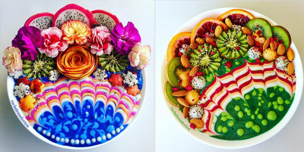 Knallbunte Vitaminpower packt Rachel Lorton in ihre Smoothie Bowls. (Quelle: https://www.instagram.com/hazelzakariya/)