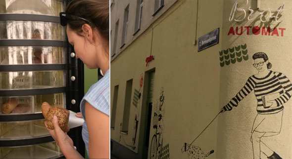 Brotautomat der Bäckerei Felzl, Wien: Wird nach Ladenschluss mit übrigem  Brot und Gebäck befüllt, das zu günstigeren Preisen erhältlich ist.