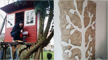 Links das Baumhaus von trnd-Partner Musel2006, rechts eine Baum-Garderobe von trnd-Partner Chrissy2016.