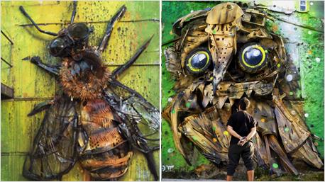 Biene in Lissabon (links) und Eule in Covilhã (rechts),  Portugal