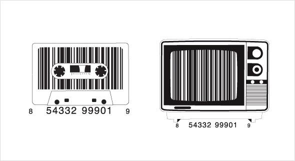 Barcodes in Kassetten- und Fernseher-Form. (Quelle: http://vanitybarcodes.com/blog/)