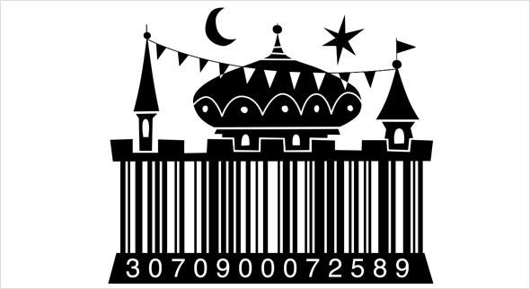 Ein Barcode als Märchenschloss. (Quelle: http://stevesimpson.com/illustrated-barcodes)