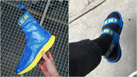 Schuhe aus der bekannten Ikea-Tasche. (Foto links: instagram.com/studiohagel, rechts: instagram.com/nicolemclaughlin)