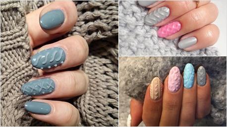 fingerngel im strick look sind diesen winter trend - Muster Fingernagel