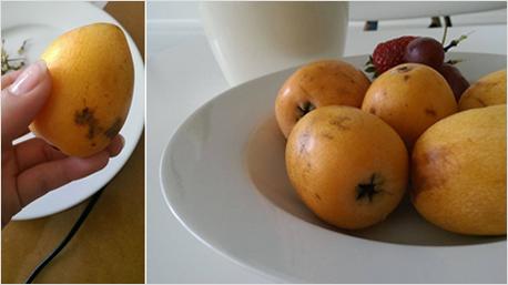Eine gelbe Frucht, so groß wie eine Aprikose. Wie heißt sie?