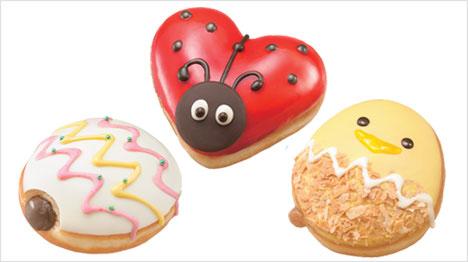 Krispy Kreme Donuts geformt wie Küken, Marienkäfer und Osterei. (Bild: http://krispykreme.jp/campaign/goodluckeaster/)