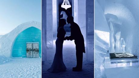 """Im """"Icehotel"""" in Schweden lässt es sich das ganze Jahr über in beeindruckenden Eisräumen schlafen, schlemmen und - heiraten. (Bilder:www.icehotel.com)"""