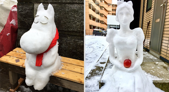 Comic- und Märchenfiguren zieren die Straßen Tokios in diesem Winter. (Quelle links: Twitter/@hitokoto0913, rechts: Twitter/@hybadass)