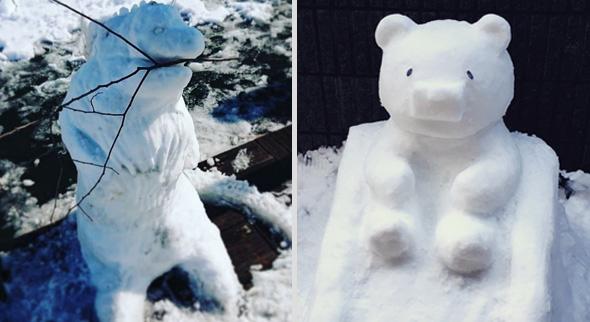 Dino und Bär oder lieber ... (Quelle links: Instagram/@azr_sibu, rechts: Twitter/naomiiko)