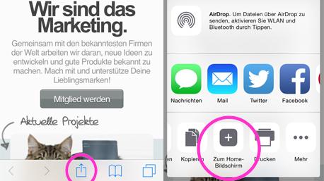 """Für iOS: trnd Seite öffnen und ganz unten das Share Icon anklicken. Im Share Menü """"Zum Home-Bildschirm"""" wählen."""