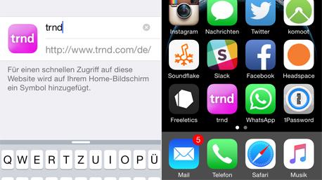Titel vergeben und das Symbole wird zum Home Screen hinzugefügt.
