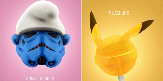 """... ein Stormtrooper aus """"Star Wars"""" wird zum Schlumpf und das Pokémon Pikachu zum Lutscher."""