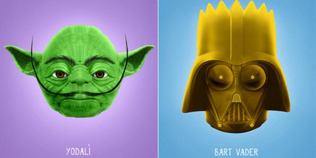 Hier verschmelzen Yoda und Dalì, Bart Simpson und Darth Vader ...