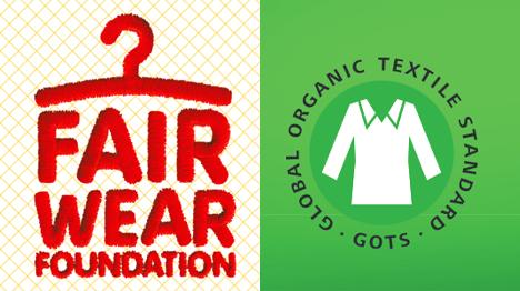 Die farbenfrohen Siegel der Fairwear Foundation sowie des Global Oganic Textile Standard. (Quellen: www.global-standard.org, www.fairwear.org)