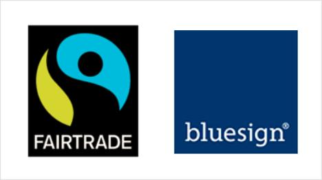 Das bekannte Fairtrade-Siegel und das oft auf Outdoor-Kleidung zu findende bluesign. (Quellen: www.fairtrade-deutschland.de, www.bluesign.com)