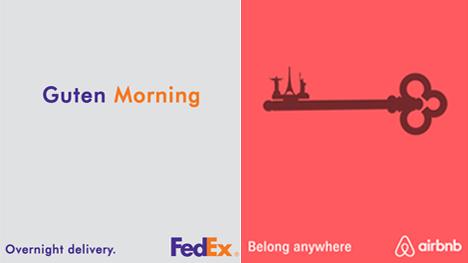 Links ein Wortspiel für den Kurierdienst FedEx, das den Wechsel von Deutsch zu Englisch beinhaltet. Rechts für das Unterkunftsportal Airbnb ein Schlüssel mit Wahrzeichen.