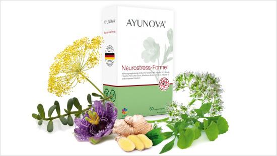 Ayunova<sup>®</sup> Neurostress-Formel fördert mit einer Kombination aus Pflanzenextrakten und Mikronährstoffen einen Zustand der Entspannung und gibt Kraft.