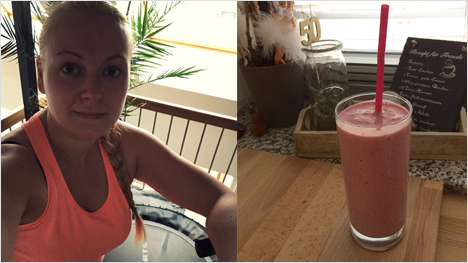 ... regelmäßigen Workouts und leckeren Shakes als Obst-Milch-Baustein nach dem Sport kommen wir unserem Zielgewicht immer näher.