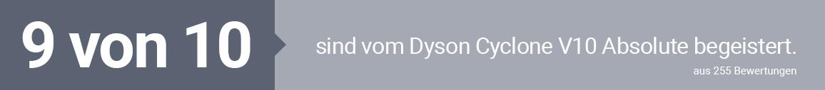 9 von 10 sind vom Dyson Cyclone V10 Absolute begeistert.