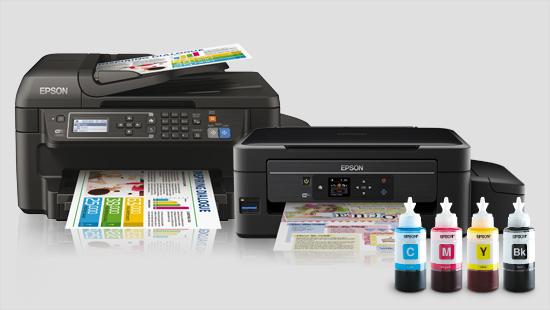 Die Epson EcoTank-Drucker verfügen über wieder auffüllbare Tintentanks und enthalten genug Tinte, um tausende Seiten zu drucken.