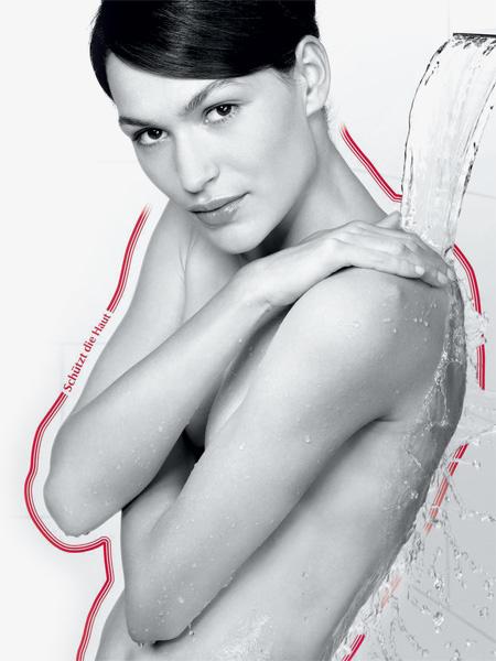 Schützt und pflegt empfindliche Haut schon in der Dusche.