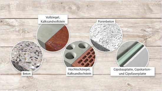 … vielen verschiedenen Materialien, beispielsweise Beton, Vollziegel, Kalksandvollstein, Porenbeton, Hochlochziegel, Kalksandlochstein, Gipskarton- und Gipsfaserplatte.