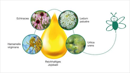 Es besteht aus pflegendem Jojobaöl kombiniert mit natürlichen Pflanzenextrakten aus Sumpfporst, der kleinen Brennnessel, Sonnenhut und Zaubernuss.