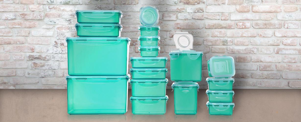 Ob im Kühlschrank, der Mikrowelle, Spülmaschine oder einfach im Regal: In den Dosen von LOCK & LOCK ist alles luft-, wasser- und aromadicht verpackt.