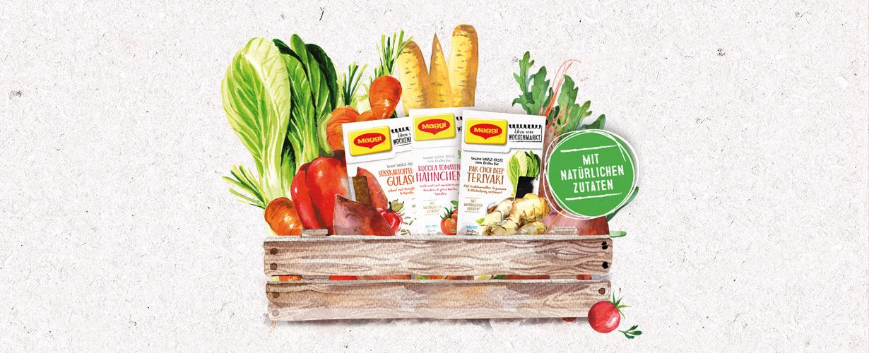"""Die neuen MAGGI """"Ideen vom Wochenmarkt"""" Produkte helfen dabei, ganz leicht mit besonderen Zutaten kreative und außergewöhnliche Gerichte zu kochen."""