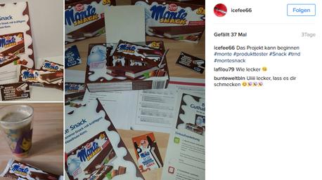 In sozialen Netzwerken wie z.B. Instagram teilen wir unsere Erfahrungen mit dem Monte Snack...
