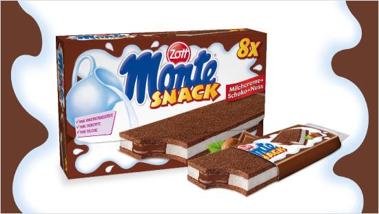 Der Monte Snack besteht aus kühler Milchcreme mit einem kräftigen Kern aus Schoko-Haselnuss-Füllung zwischen zwei lockeren Biskuit-Kuchenschnitten.