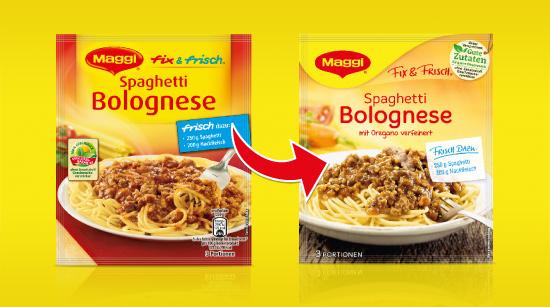 Damit Dir die Maggi Produkte in neuer Qualität direkt im Supermarktregal ins Auge fallen, wurde auch die Verpackung moderner und zeitgemäßer gestaltet.