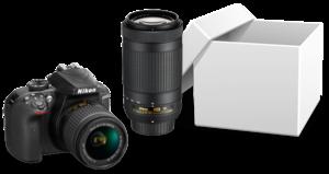1x Nikon D3400 Kit inklusive 18-55 mm Objektiv und 70-300 mm Teleobjektiv