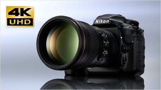 Als erste Nikon-DSLR mit DX-Sensor bietet die D500 die Aufnahme hochauflösender Videos in 4K/UHD und 4K/UHD Zeitrafferfilmen direkt in der Kamera.