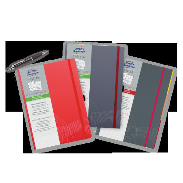 Die drei notizio Notizbücher aus unserem Projekt.