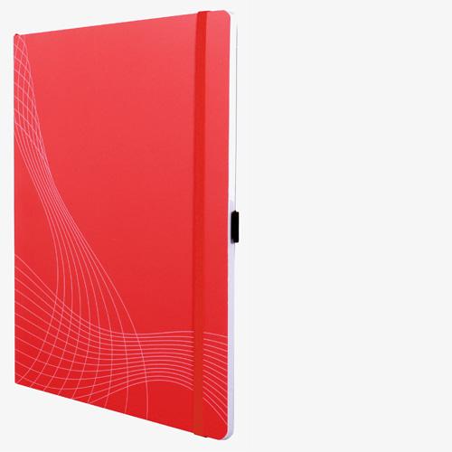 notizio Notizbuch gebunden, kariert, Softcover, rot