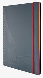 notizio Notizbuch, spiralgebunden, Kunstoff-Cover, Grau
