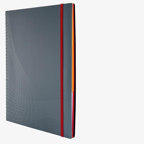 notizio Notizbuch spiralgebunden, liniert, Kunstoff-Cover, grau