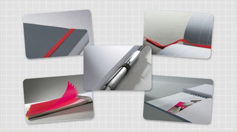 Die Notizbücher bieten Extras wie Verschlussband, Stifthalter, Einmerkband, versetzbares Register, Inhaltsübersicht, Innen- bzw. Dokumententasche.