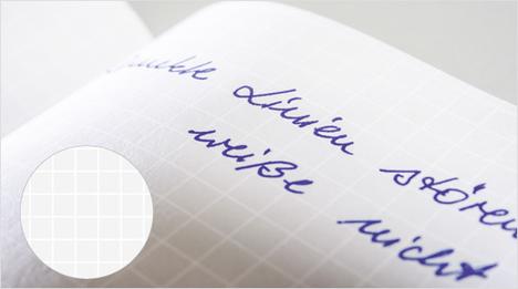 Die weiße Lineatur auf hellgrauem Hintergrund bringt die Schrift mehr in den Vordergrund, hilft beim Lesen und wird beim Kopieren und Scannen nahezu unsichtbar.